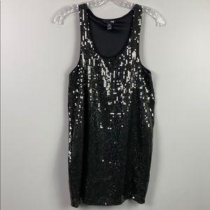 H&M Black Sequined Tank Mini Dress XS